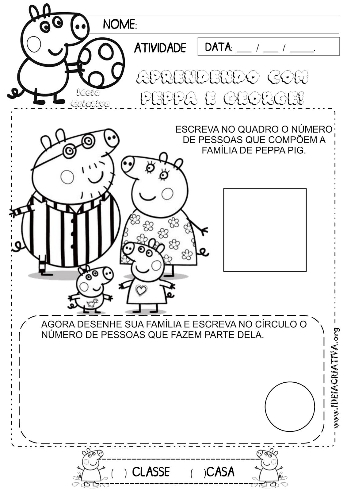 Excepcional Atividade Família Identidade Peppa Pig | Ideia Criativa - Gi  WG08