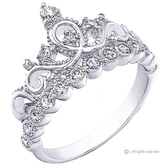 d4121a462 Rhodium-plated 925 Sterling Silver Crown Ring / Princess Ring - AZDBR5456DZ