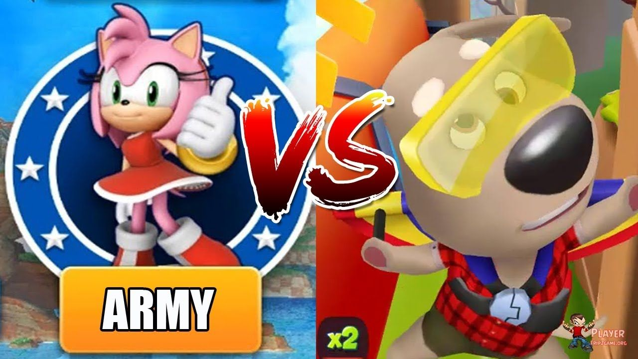Sonic Dash Vs Talking Tom Gold Run New Update ARMY Vs
