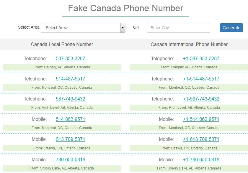 fake canada phone number, fake phone number  Random phone numbers, Phone numbers, Phone
