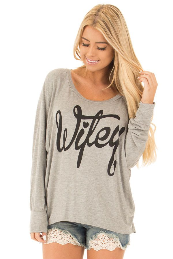 176dab8d3f9 Lime Lush Boutique - Heather Grey Wifey Shirt with Peek a Boo Back ...