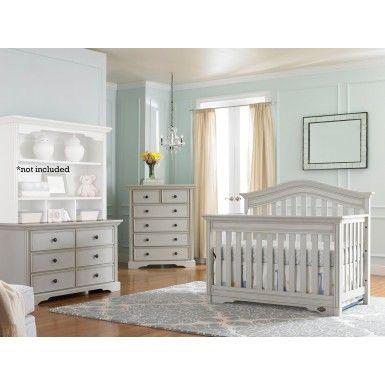 Bonavita Westfield 3 Piece Nursery Set In Linen Gray Crib Dresser 5 Drawer Sets Baby Furniture
