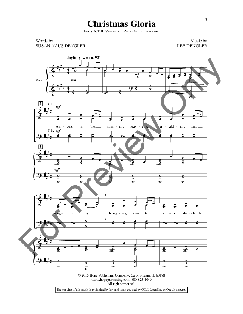 Christmas Gloria (SATB ) by Lee Dengler| J W  Pepper Sheet