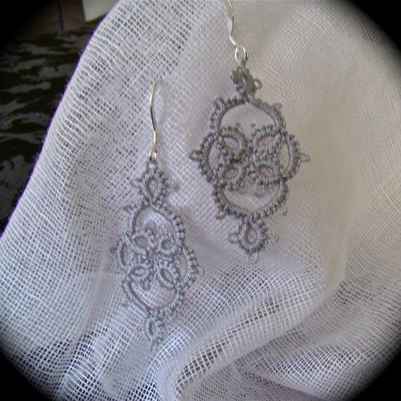 Tatted Lace Earrings - Victoriana - Silver.