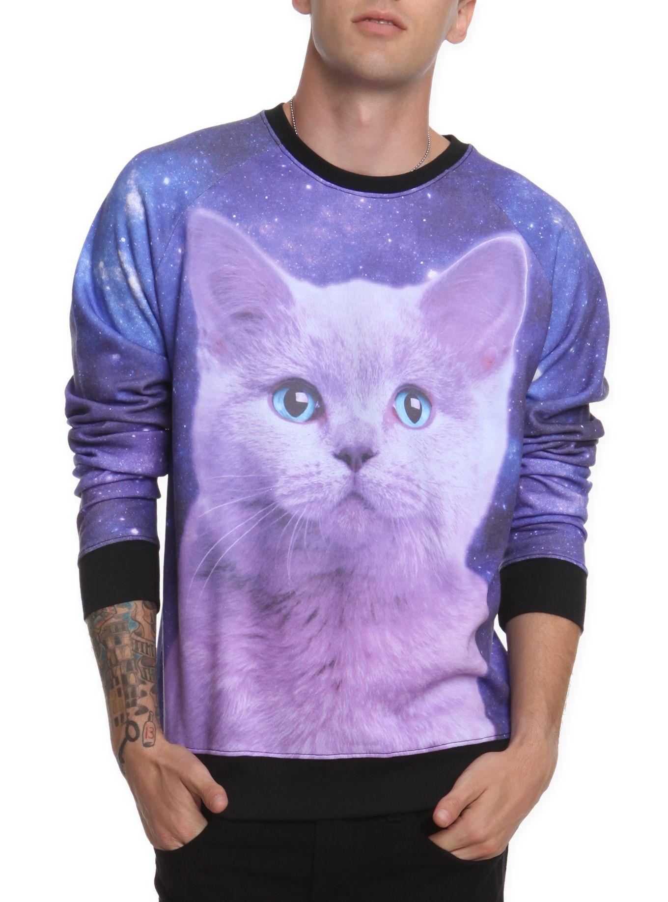 Space Kitty Crewneck Sweatshirt Hot Topic Cat Sweaters Crew Neck Sweatshirt Sweatshirts [ 1836 x 1360 Pixel ]
