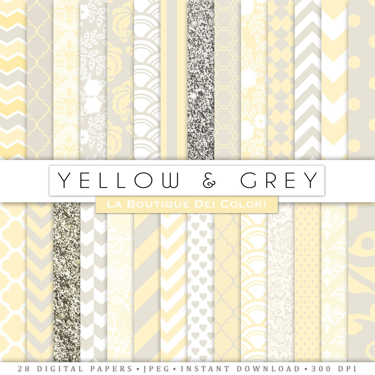 Nursery Digital Paper Digital Paper Yellow And Gray Baby Digital