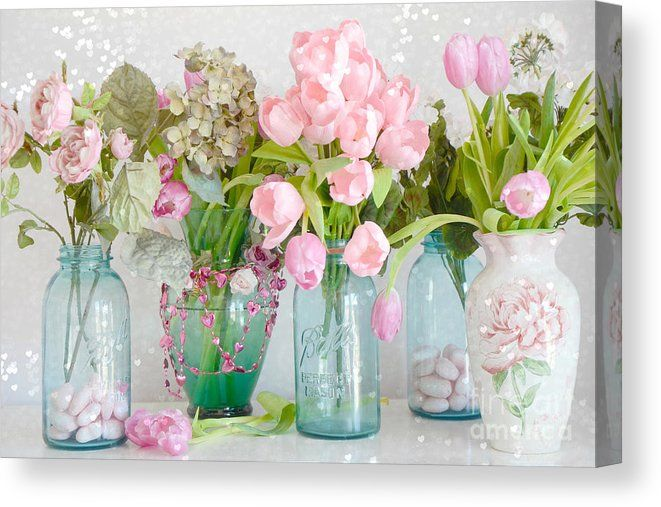 Shabby Chic Cottage Ball Jars And Tulips Floral Photography Mason Ball Jars Floral Photography Canvas Print Canvas Art By Kathy Fornal In 2020 Pink Floral Decor Chic Flowers Summer Flowers Garden