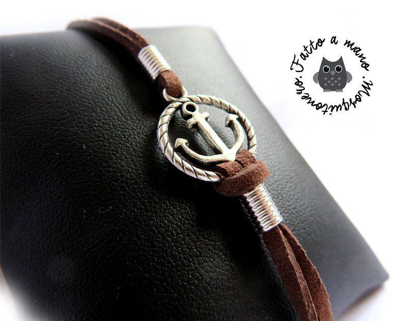 ad439b8d34ad7d Bracciale nautico UOMO Ancora & Corda anchor mare braccialetto pelle  argento, by Mosquitonero Shop,