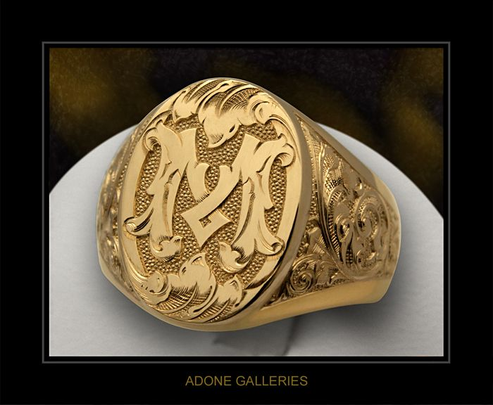 Victorian 'M' Monogram signet ring   M and other Letters ...