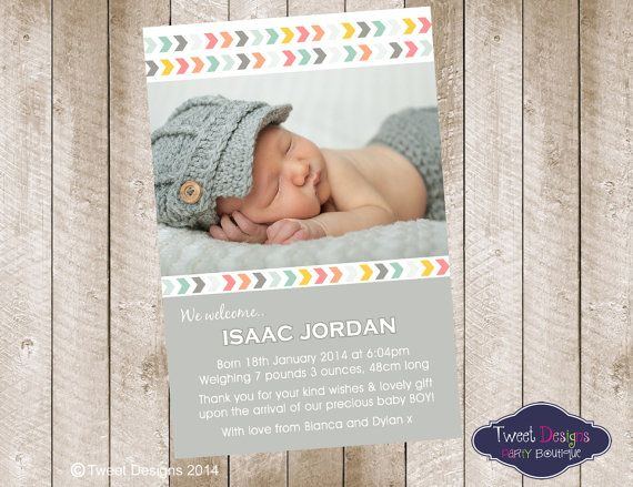 BABY BIRTH ANNOUNCEMENT Baby Boy Thank you Card Printable Baby – Birth Announcement Pinterest