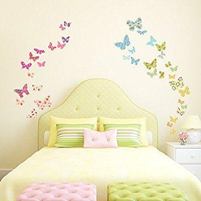 Decowall DW-1408 Patterned Butterflies Kids Wall Stickers Wall ...
