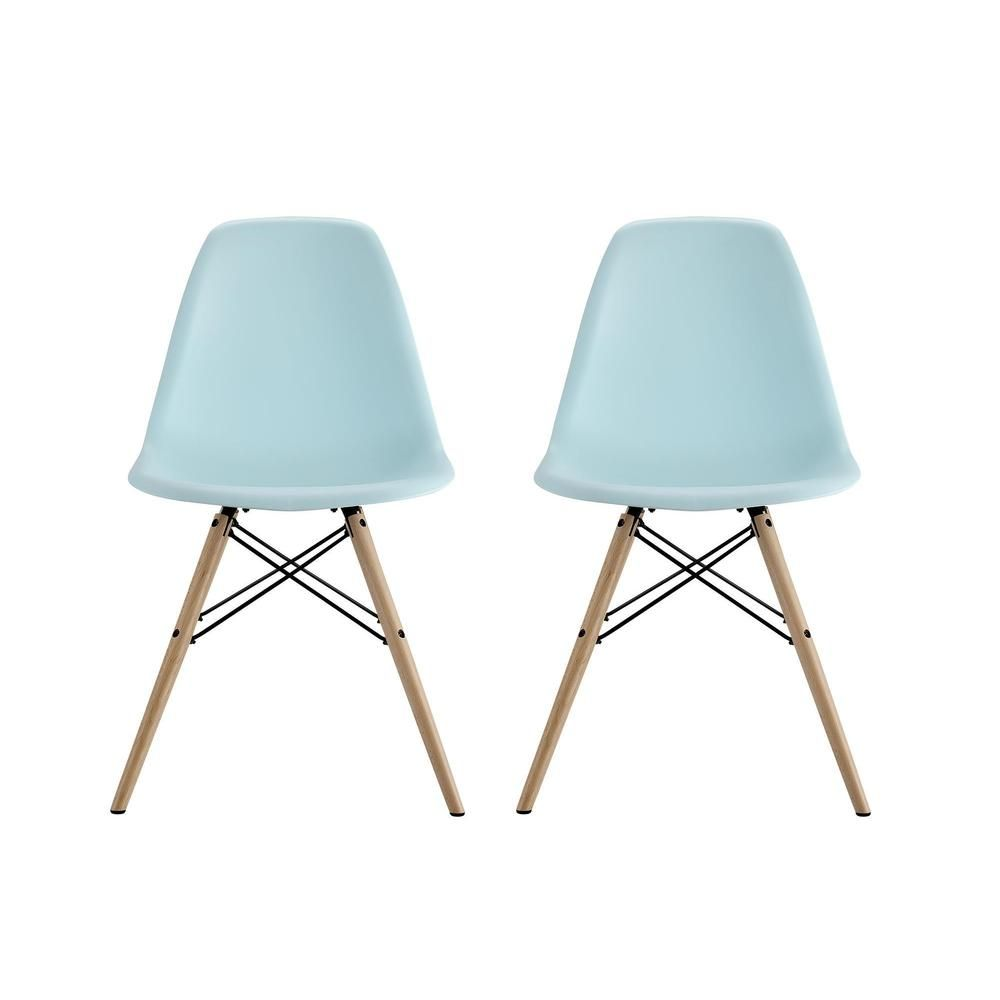 DHP Mid Century Modern Molded Blue Chair with Wood Leg (Set of 2 ...