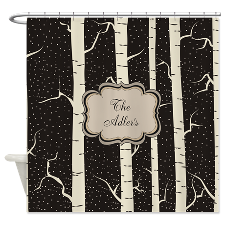 Personalized Shower Curtain Birch Tree Black Tan By Pick Your