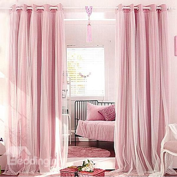 Romantic Pink Sheer And Shading Cloth Sewing Together Grommet Top