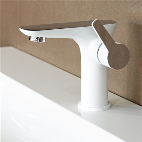 White Bathroom Taps the ultra funky laurita's two tone white & chrome finish is quite