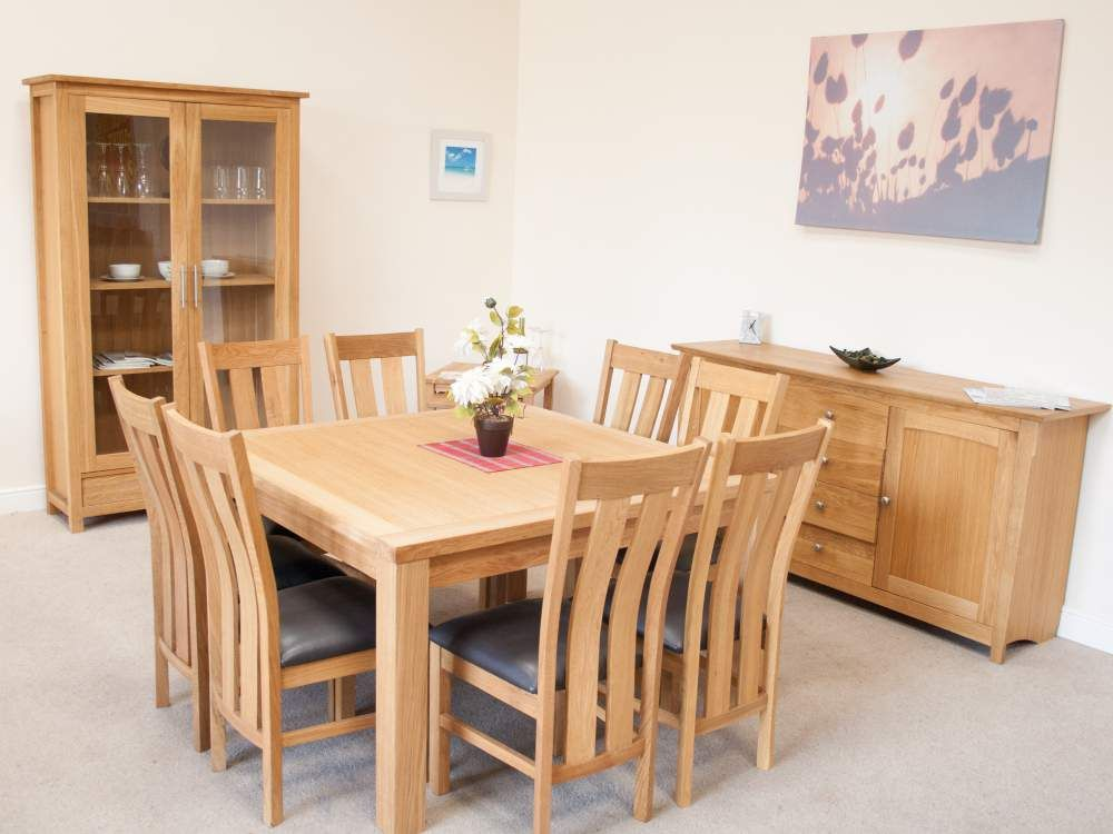 Minsk 130Cm Large Square Oak Dining Table Seating 8  Kitchen Captivating Oak Dining Room Inspiration
