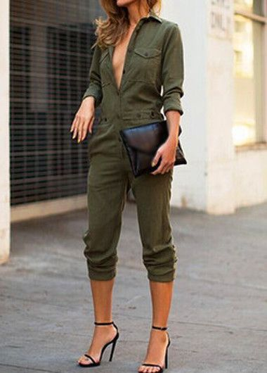 fb5f1ec697c9 Army Green Long Sleeve Turndown Collar Jumpsuit
