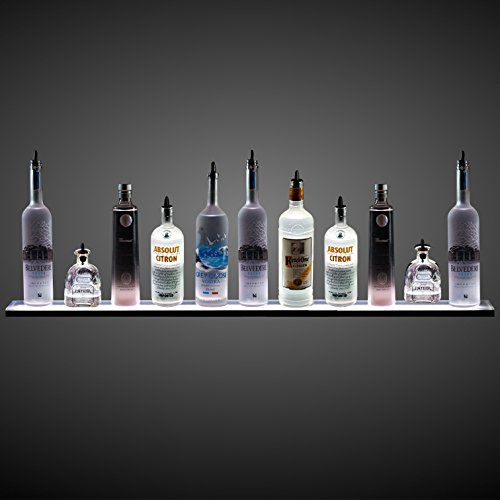4 Wall Mounted Led Lighted Liquor Bottle Display Shelf Floating Shelves Home Bar