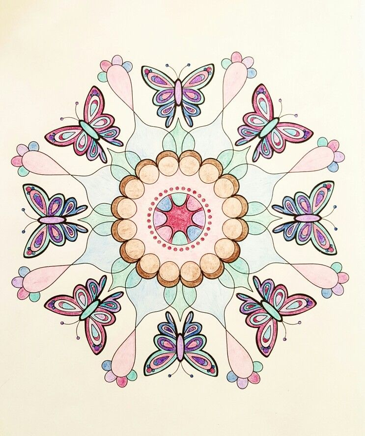 Butterfly Mandala From Nature Mandalas By Thaneeya McArdle Colored With Cra Z Art Pencils