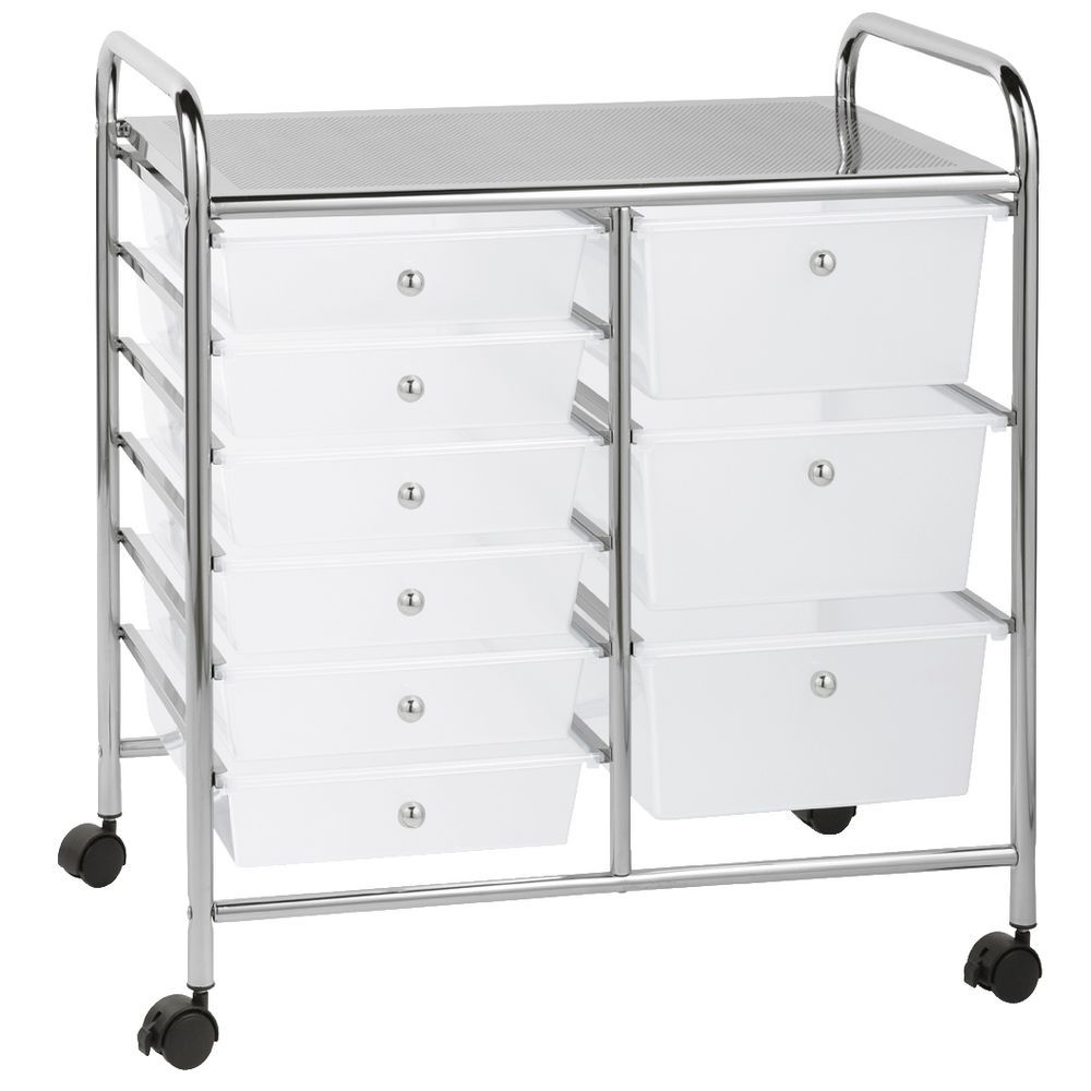 office trolley cart. J.Burrows 9 Drawer Chrome Trolley Clear Office Cart C