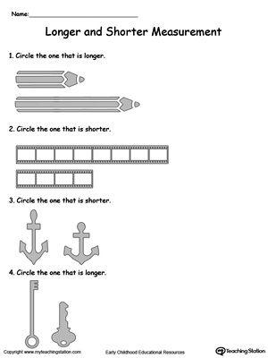 Longer and Shorter Measurement | Worksheets, Shorts and Math
