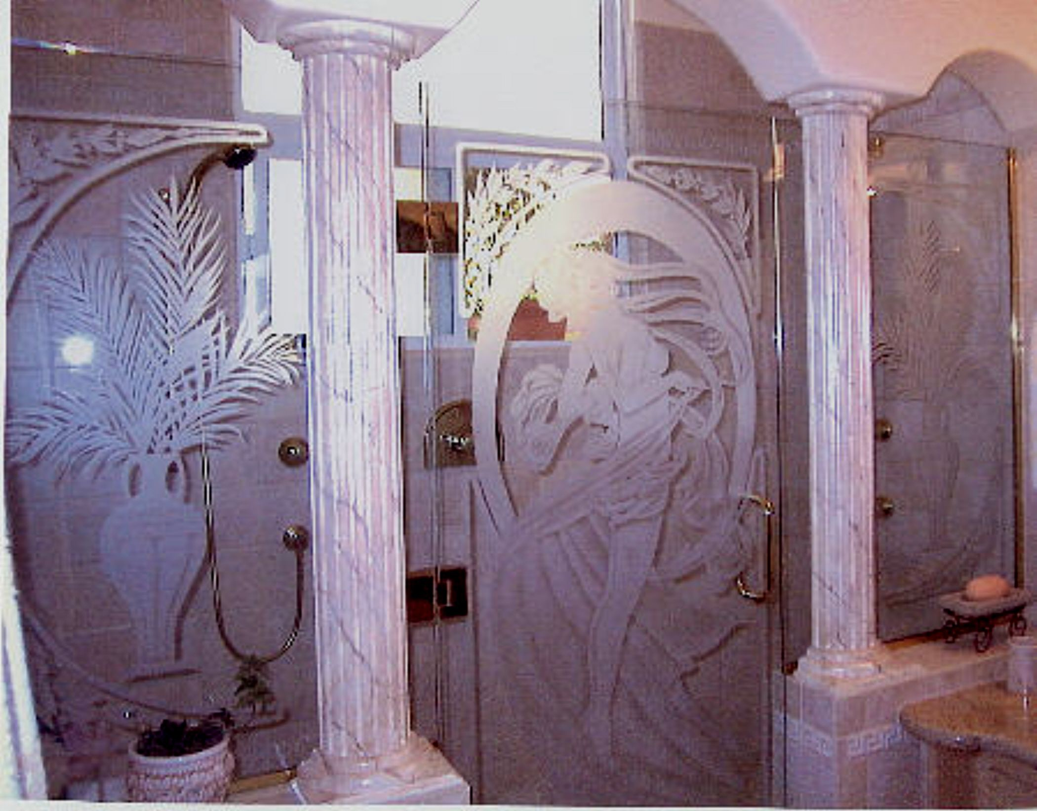 This shade sandblasted shower door was fashioned after the style of Alphonse Mucha.When combined & This shade sandblasted shower door was fashioned after the style ... pezcame.com