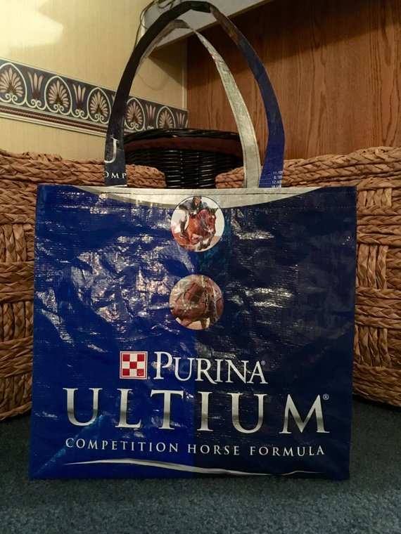 reusable tote bag recycled tote bag grocery tote reusable grocery bag recycled shopping bag Purina horse Recycled Feed Bag Tote