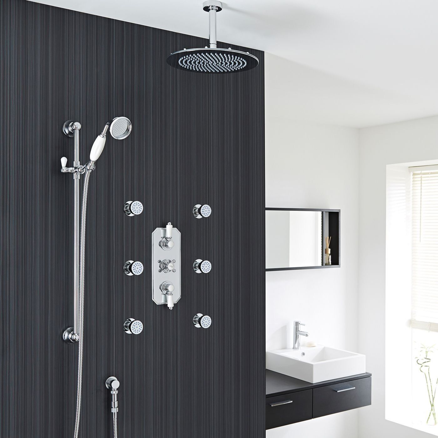 Hudson Reed Complete Thermostatic Shower System 3 Outlet Unit With 12 Rain Easy Clean Head Ceramic Handset 6 Round Spa J Shower Systems Shower Shower Heads
