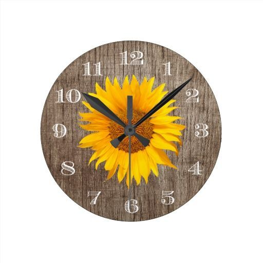 Country Sunflower Rustic Barn Wood Vintage Round Clock | Zazzle.com