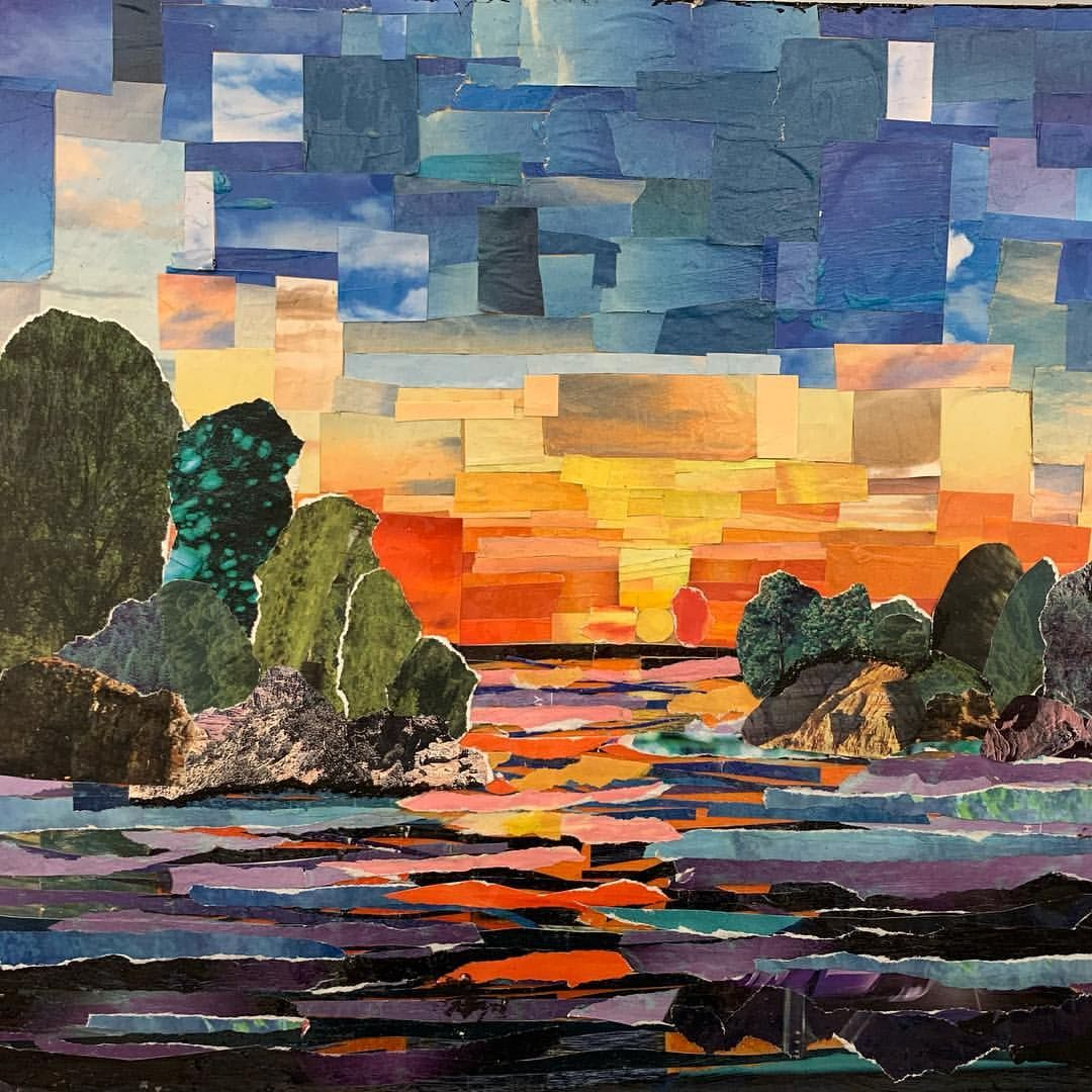 Torn Paper Collage Landscape On Wood I Love This For The Kids That Enjoy Tactile Work It Can Therapeutic Or Collage Landscape Skyscape Art Paper Collage Art
