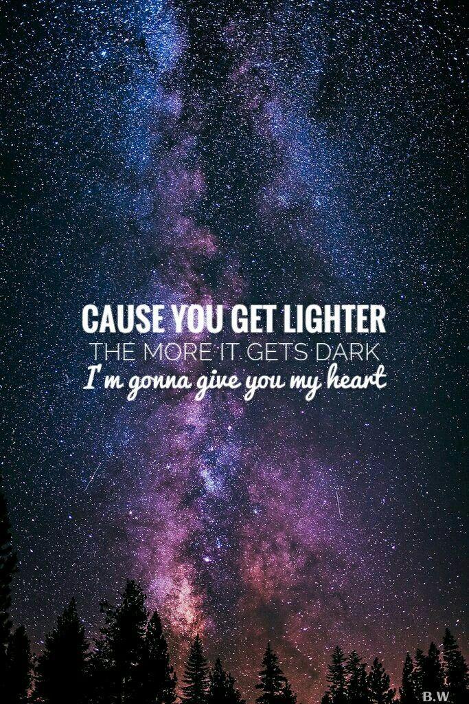 A sky full of stars coldplay lyrics lockscreen (With