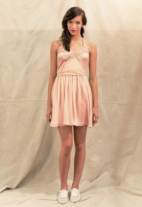 Cute one shoulder flowing bridesmaid dress