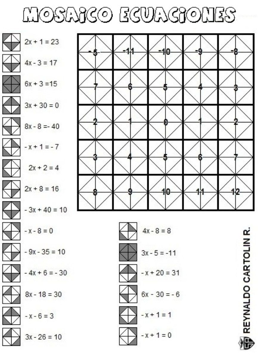 En La Siguiente Ficha Trabajamos 21 Ecuaciones De Primer Grado Y Con Sus Soluciones Vamos Co Juegos Didacticos De Matematicas Ecuaciones Actividades De álgebra