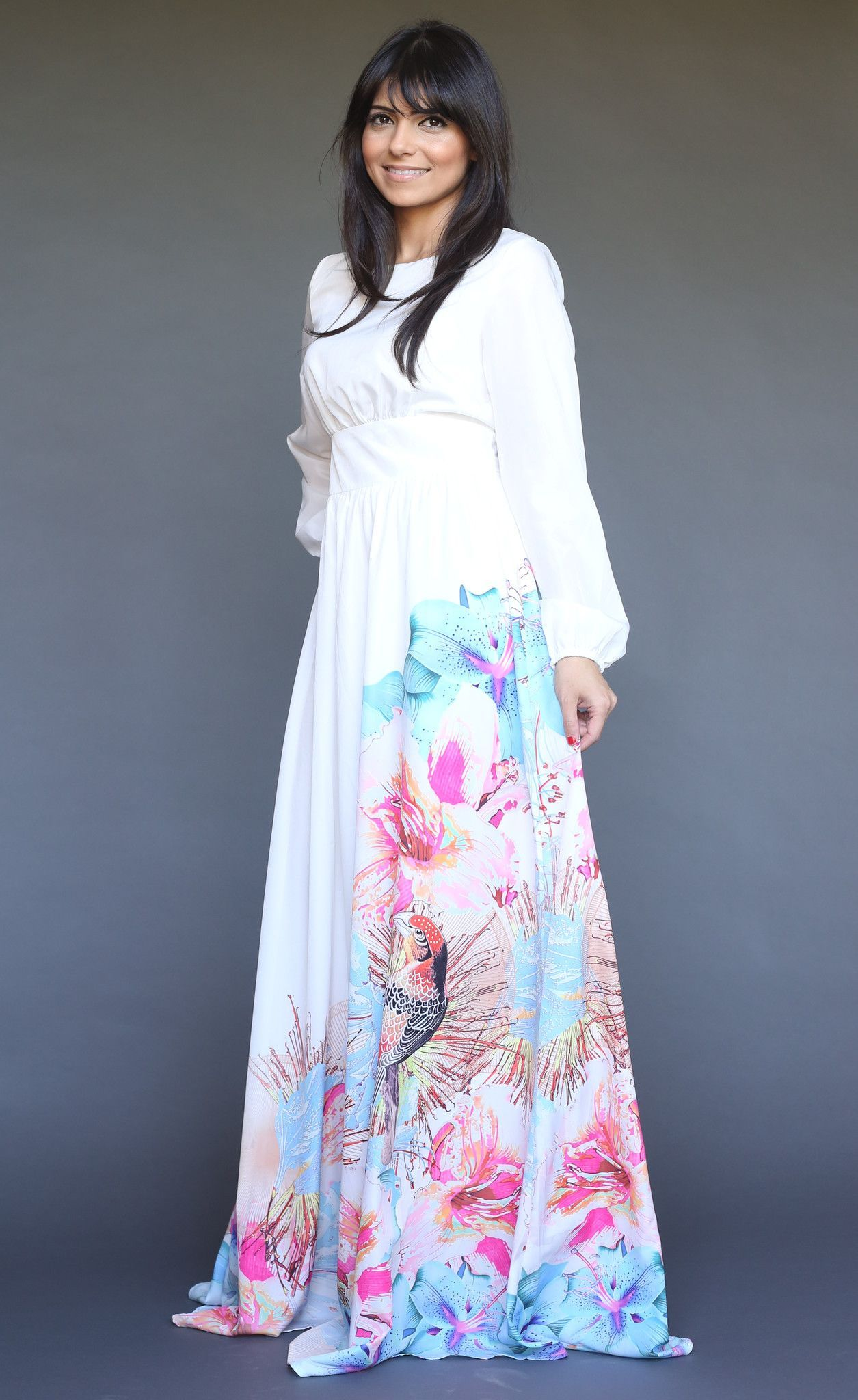 Modest long sleeve maxi dress with orange leaf print modesty