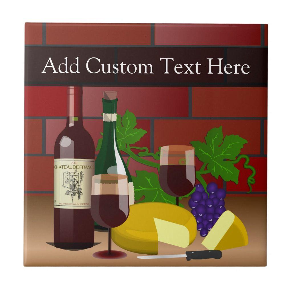 Wine Cheese Table Scene Tile Zazzle Com In 2020 The Wine Shop Cheese Table Wine Cheese