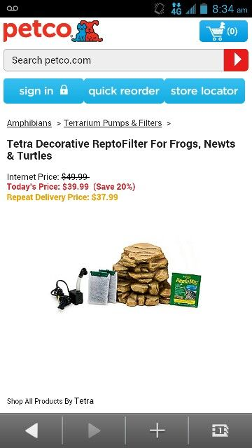 Tetra Decorative Reptofilter For Frogs Newts And Turtles Petco