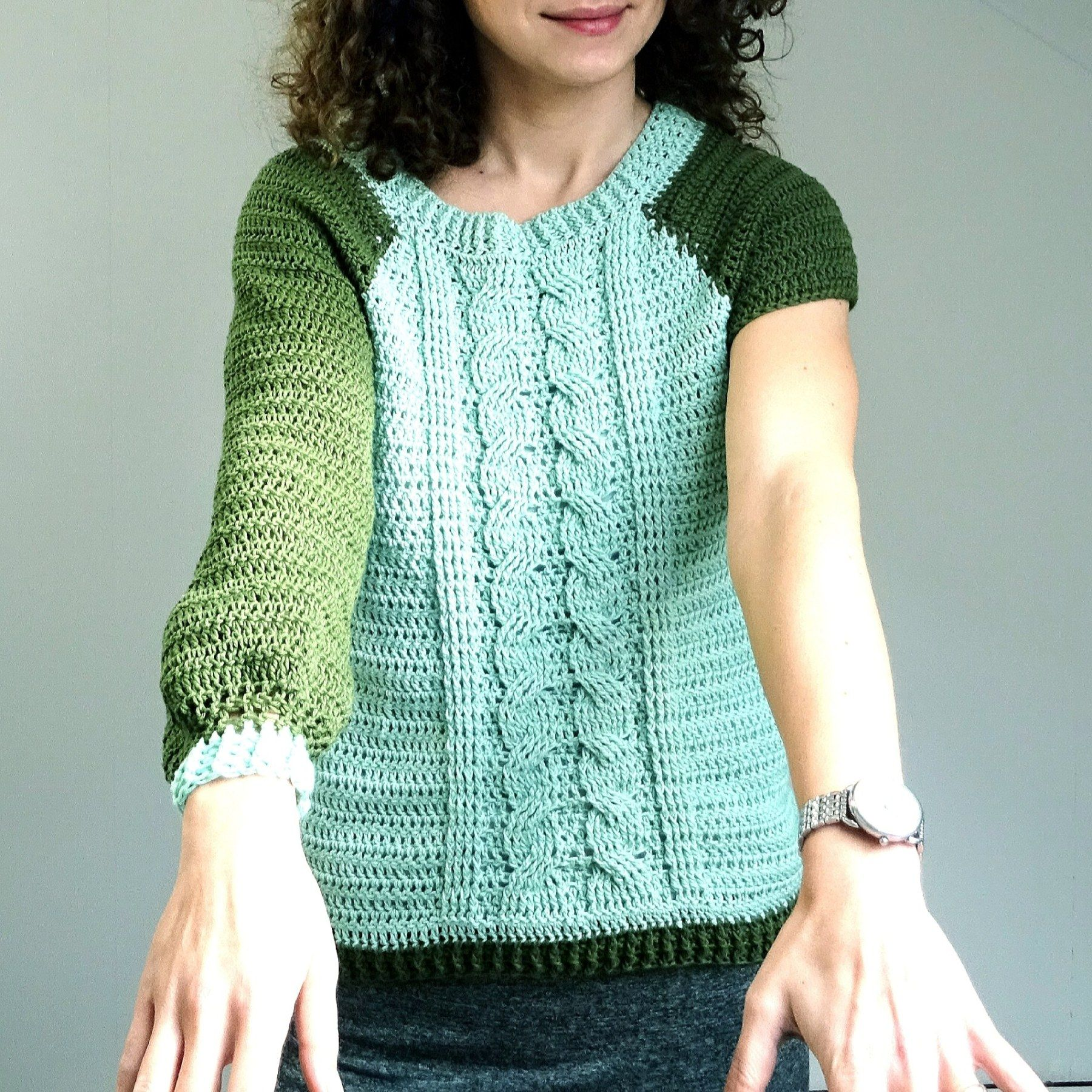 Spring Time Cable Sweater Crochet Tops Free Patterns Crochet Top Outfit Crochet Top Pattern