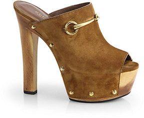 7c7947d5b51a8 Gucci Tess Suede Wooden Platform Clogs on shopstyle.com | STEP IT UP ...