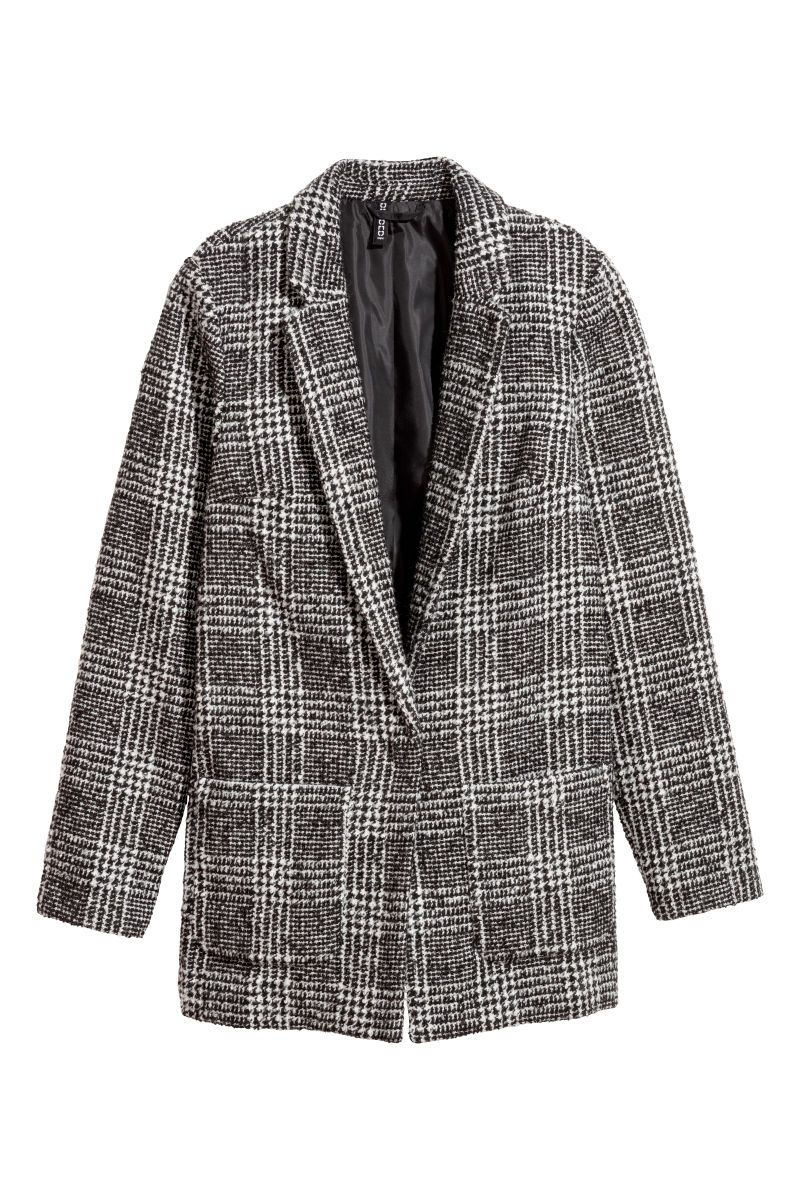 12db4dbe Single-breasted blazer in a thick, jacquard-weave wool blend with notched  lapels. Front pockets and concealed snap fastener at front. Wool