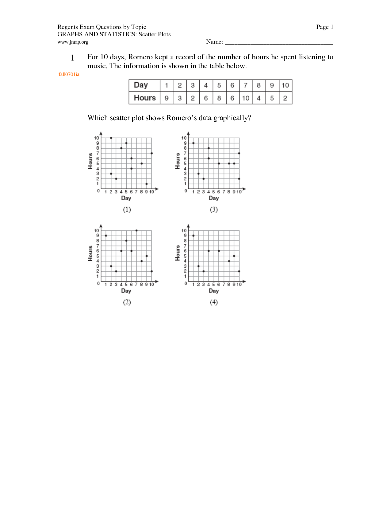 medium resolution of Scatter Plot Worksheet Algebra 1 - Promotiontablecovers