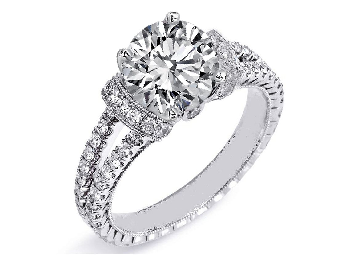 Diamond Huggies Double Pave Band Engagement Ring