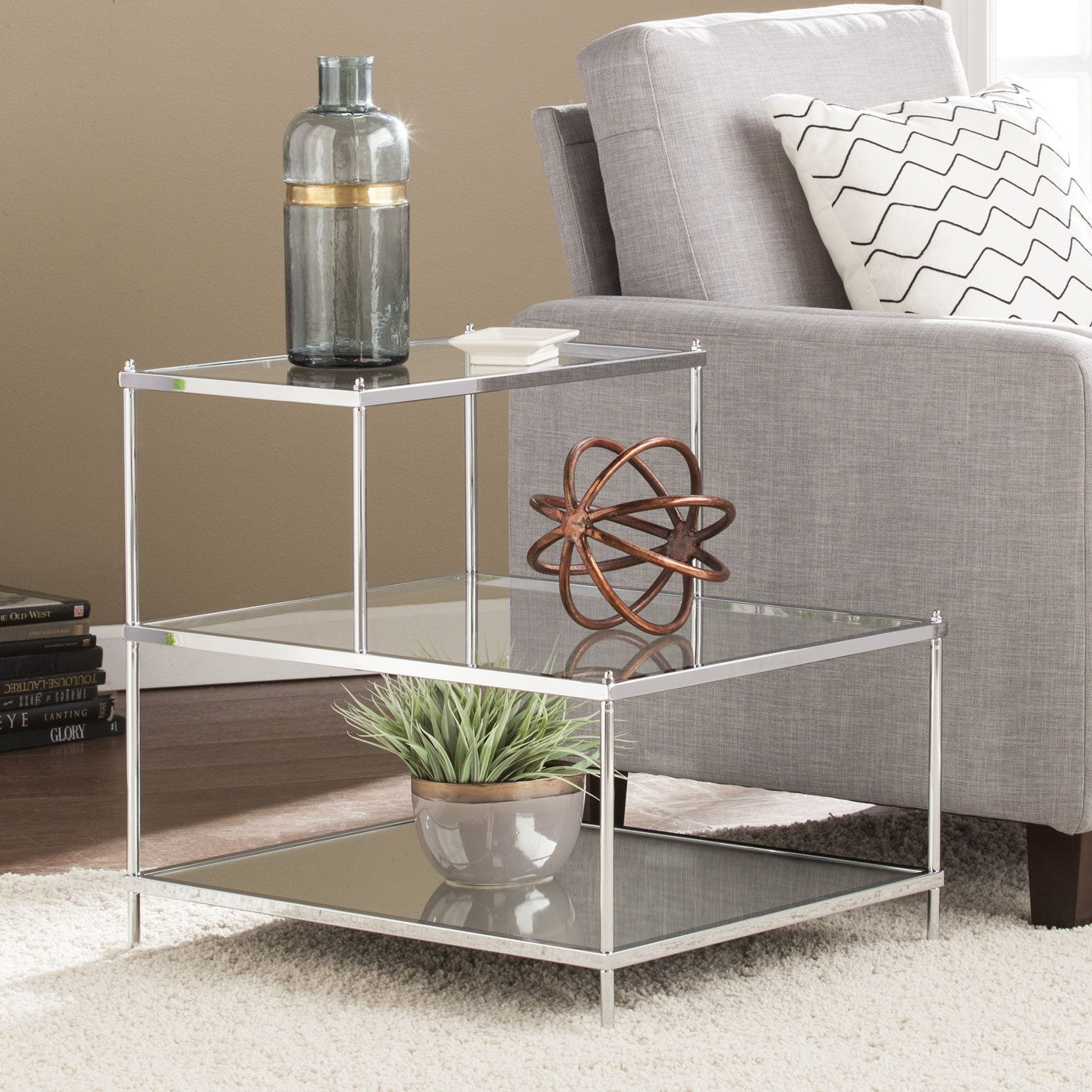 Alejandre Glam Mirrored End Table