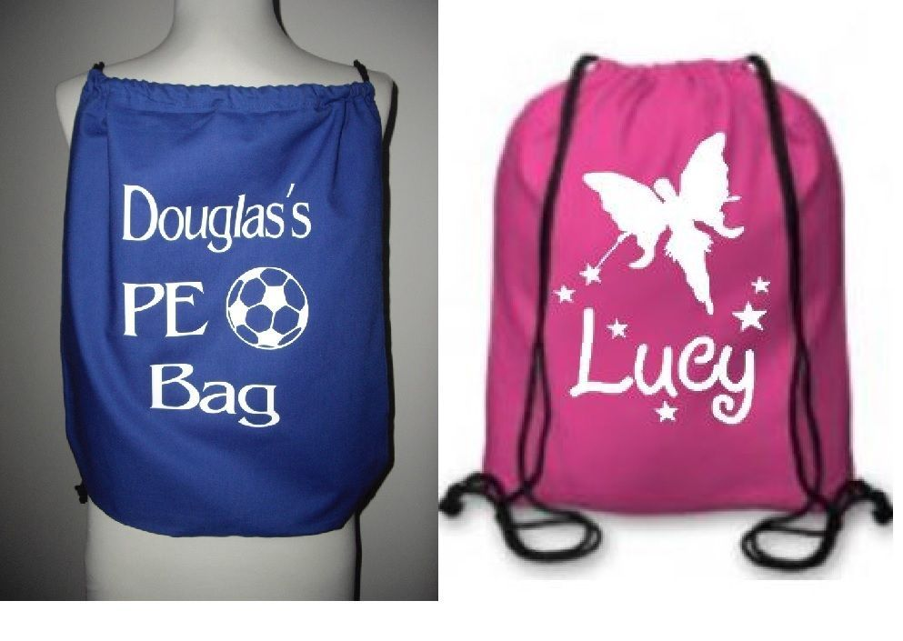Details about personalised drawstring bag cotton pink