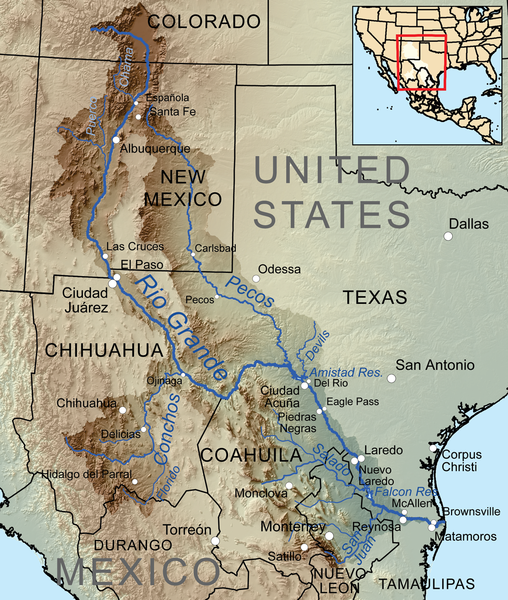 Map Of West Texas And New Mexico.Map Of The Rio Grande Basin C Watershed Maps Pecos River Rio