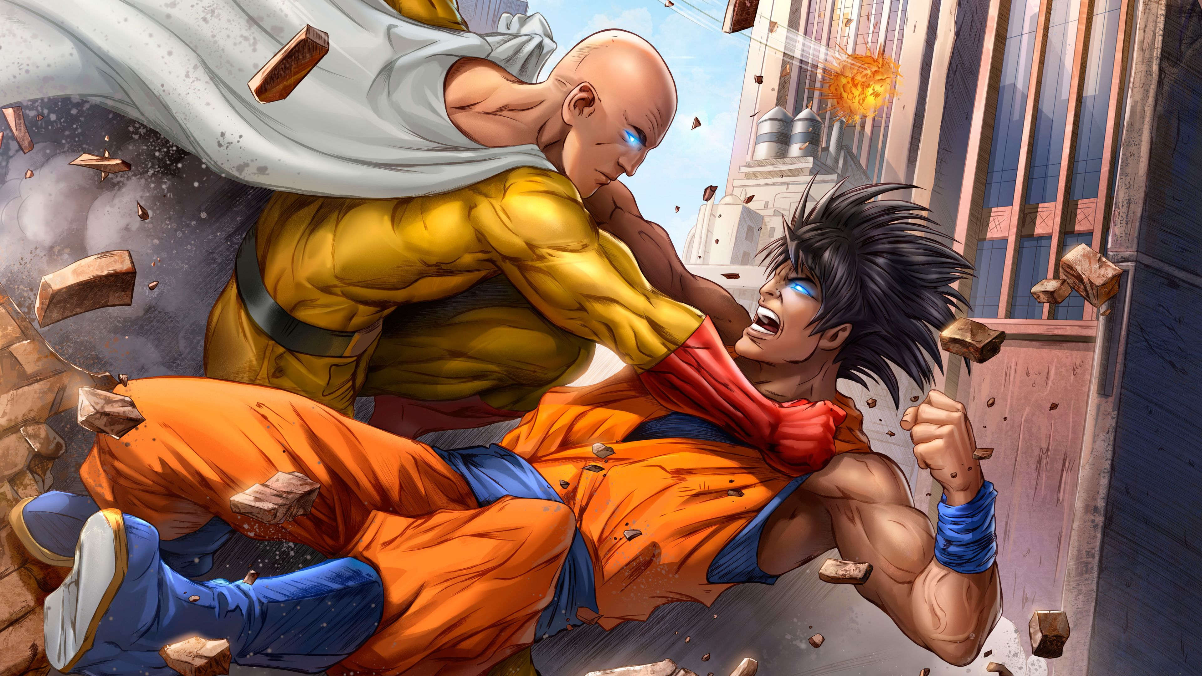 Goku And One Punch Man 5k Art superheroes wallpapers, one