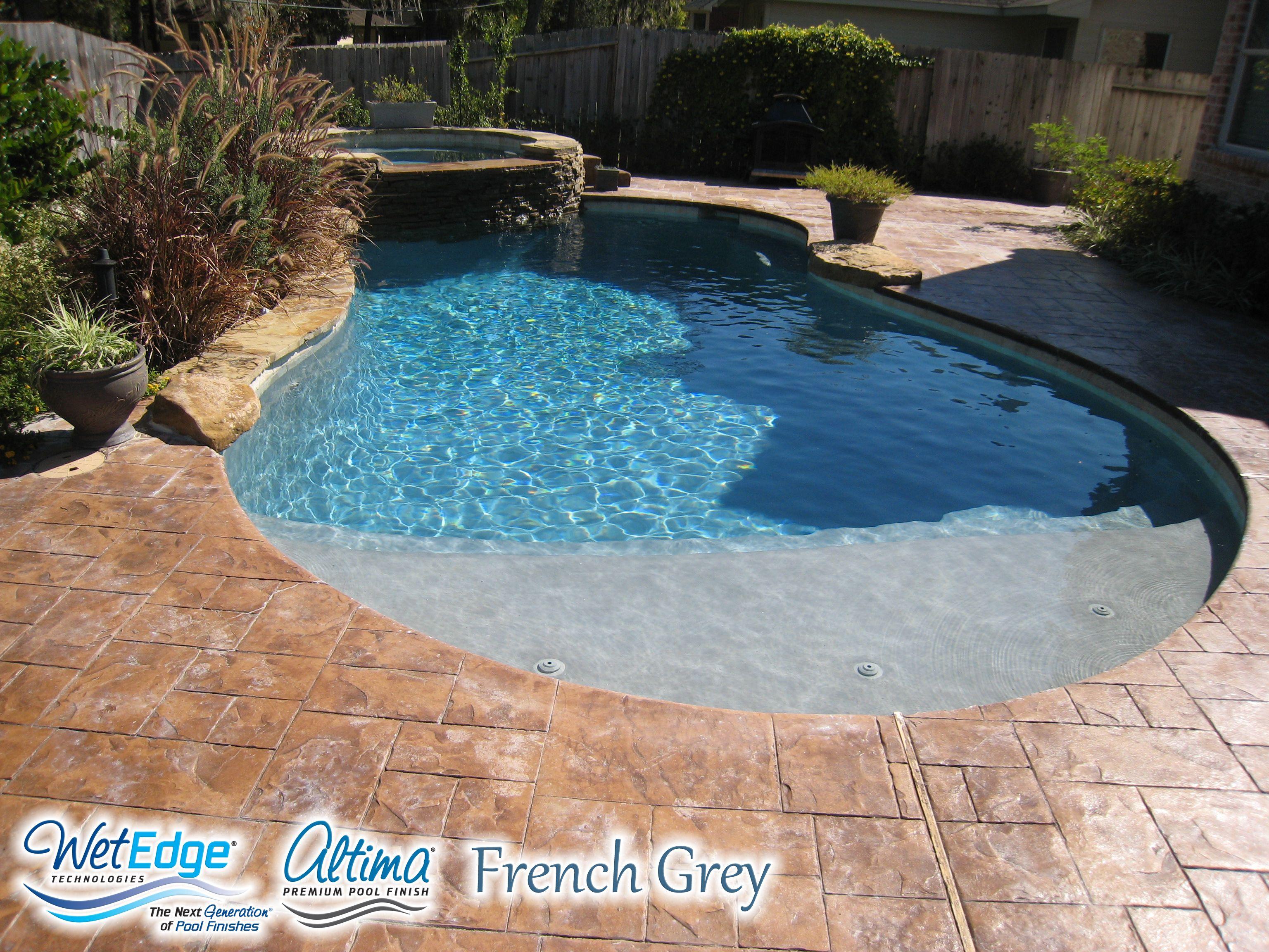 Altima French Grey Pool Plaster Steps White Quartz