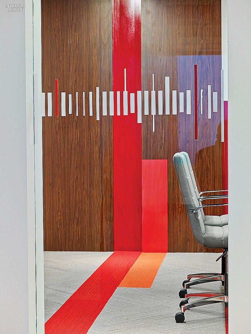 Toronto LinkedIn Toronto HQ office, Canada. Graphics on a conference room's custom vinyl wall covering abstract the Toronto skyline. #office large social media company