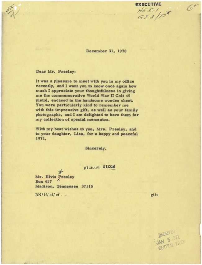 A Letter From President Richard Nixon To Elvis Thanking Him For