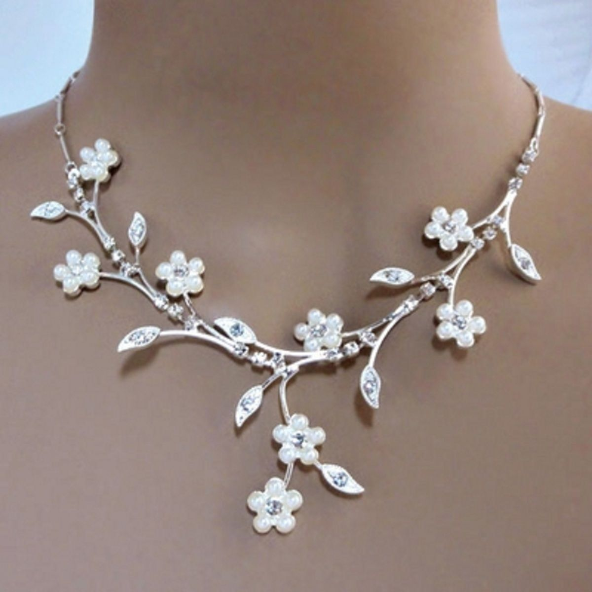 Faux Pearl White Flowers Adorn Elaborate Rhinestone Branches To Make This Wedding  Necklace A Best Seller