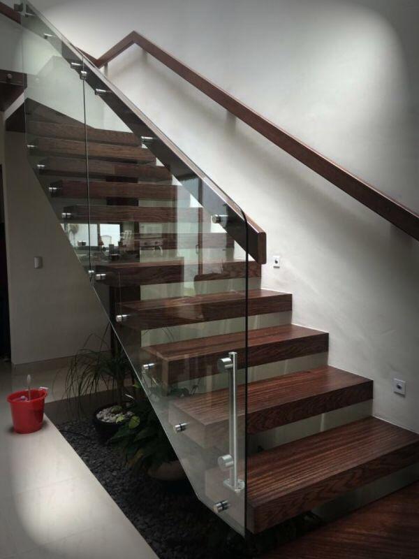 Pasamanos Combinado Vidrio Madera Y Acero Inoxidable Pasamanos En - Escaleras-de-cristal-y-madera